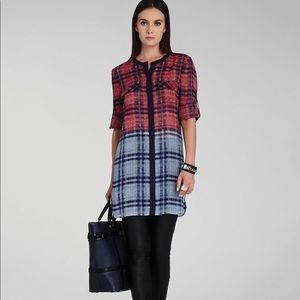BCBGMaxAzria Jovia Plaid Silk Tunic